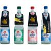 Bottiglie in vetro con 4 diversi contorni per cartellini per bottiglia