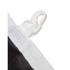 Completamente cucita con filo doppio; sul lato lungo rinforzata con nastro di passamaneria incl. cappi e moschettoni