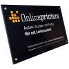 Cartelli in plexiglas di qualità, 4 mm, incolore, per l'impiego interno ed esterno (come da figura).