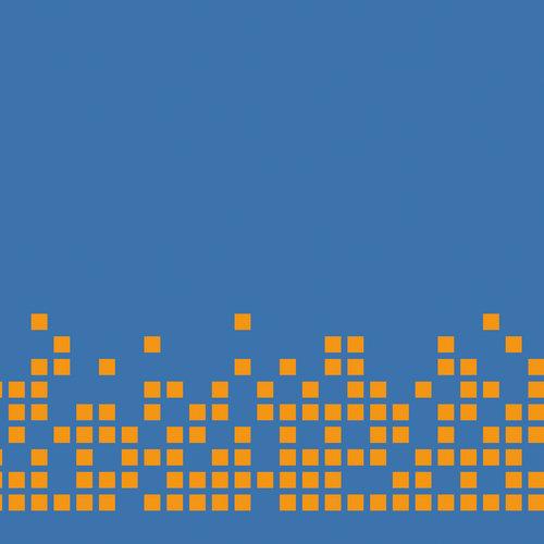 Pixel arancioni su sfondo blu