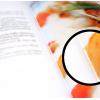 Catalogo aperto con sezione ingrandita: lieve visibilità del filo (punti)