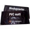 Striscioni in PVC opaco 500 g/m² e tessuto mesh 300 g/m², con applicazione di occhielli sui bordi su richiesta (immagine a scopo dimostrativo)