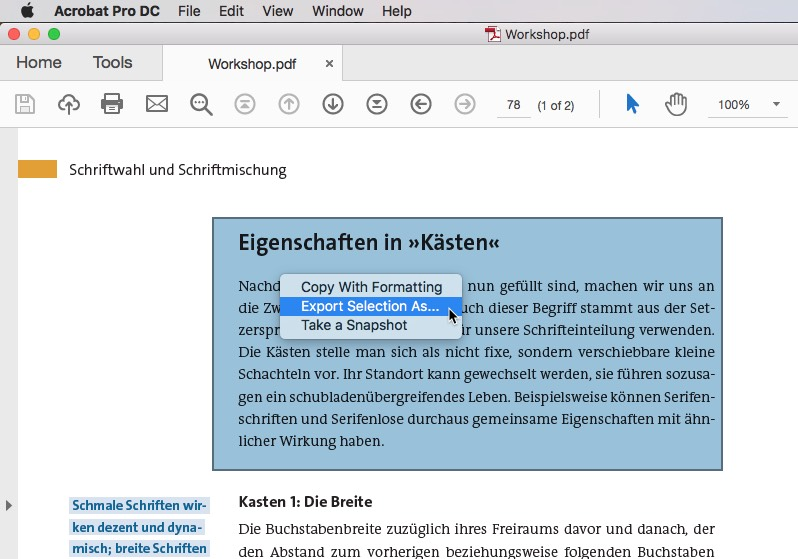 You can convert individual text sections from PDF to Word with Export selections as..
