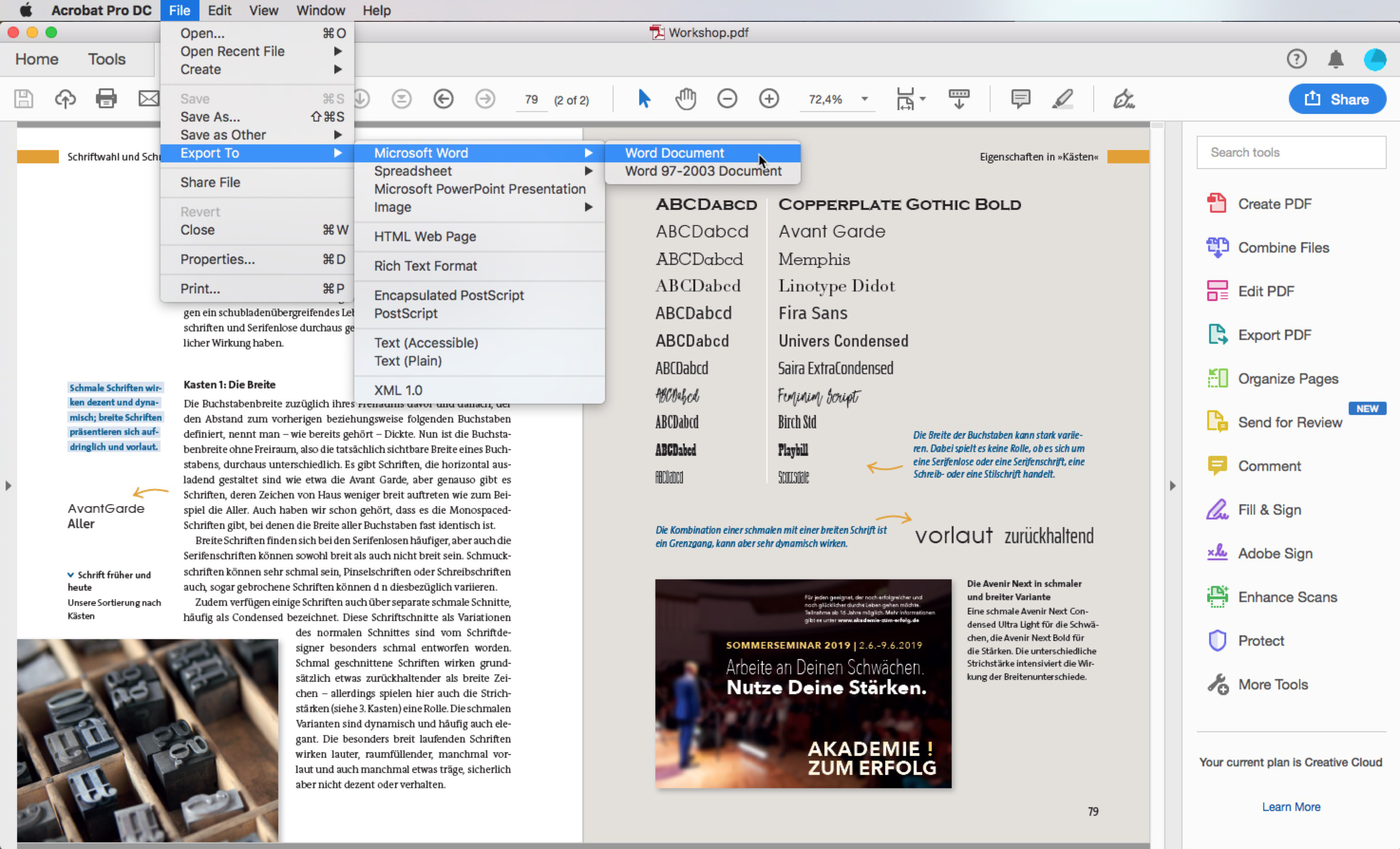 Export a PDF to Word with the Export to function